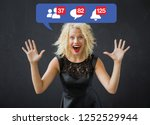 happy woman excited about...   Shutterstock . vector #1252529944