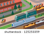 freight train of two green... | Shutterstock . vector #125253359
