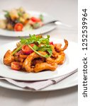 penne pasta in tomato sauce... | Shutterstock . vector #1252539964