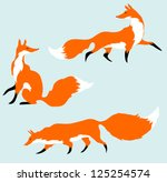 three red foxes in motion | Shutterstock .eps vector #125254574