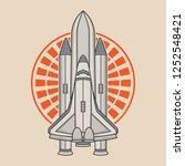 space rocket vector logo design ... | Shutterstock .eps vector #1252548421