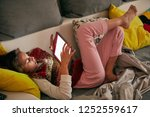 little girl studying and doing... | Shutterstock . vector #1252559617