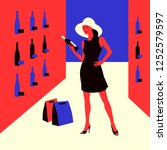 wine shopping. woman in a wine... | Shutterstock .eps vector #1252579597