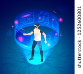 isometric man in vr. future... | Shutterstock .eps vector #1252600801