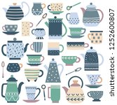 ceramic kitchen teacup.... | Shutterstock .eps vector #1252600807
