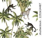 tropical vintage botanical palm ... | Shutterstock .eps vector #1252614487