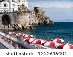 beach sunbed and parasols   Shutterstock . vector #1252616401