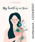 romantic illustration with... | Shutterstock .eps vector #1252630207