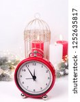 red clock   symbol of  new year ... | Shutterstock . vector #1252635817