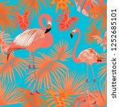 tropical vector seamless... | Shutterstock .eps vector #1252685101