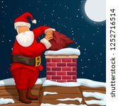 santa putting bag in chimney | Shutterstock .eps vector #1252716514