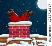 santa stuck in chimney | Shutterstock .eps vector #1252716517