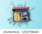 travel bag background concept.... | Shutterstock . vector #1252758664