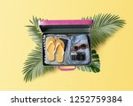 travel bag background concept.... | Shutterstock . vector #1252759384