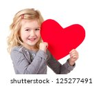 Little Girl Holding Red Heart ...