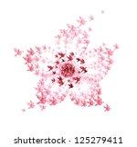 flower origami shaped from flying birds - JPG VERSION - stock photo