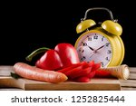 fresh vegetables on a wooden... | Shutterstock . vector #1252825444