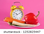 vegetables on a plate and retro ... | Shutterstock . vector #1252825447