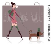 girl walking with dog | Shutterstock .eps vector #125283341