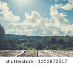 tilting floor on sky background   Shutterstock . vector #1252872517