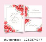 floral wedding invitation with... | Shutterstock .eps vector #1252874347