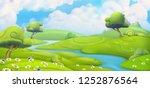 spring landscape. green meadow... | Shutterstock .eps vector #1252876564