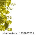 flower frame monstera ufo green ... | Shutterstock .eps vector #1252877851