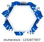flower frame monstera ufo green ... | Shutterstock .eps vector #1252877857