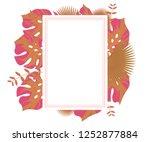 flower frame monstera ufo green ... | Shutterstock .eps vector #1252877884