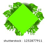 flower frame monstera ufo green ... | Shutterstock .eps vector #1252877911