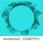 flower frame monstera ufo green ... | Shutterstock .eps vector #1252877971