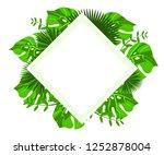 flower frame monstera ufo green ... | Shutterstock .eps vector #1252878004