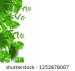 flower frame monstera ufo green ... | Shutterstock .eps vector #1252878007