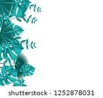 flower frame monstera ufo green ... | Shutterstock .eps vector #1252878031