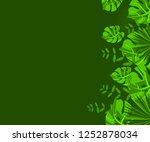 flower frame monstera ufo green ... | Shutterstock .eps vector #1252878034