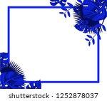 flower frame monstera ufo green ... | Shutterstock .eps vector #1252878037