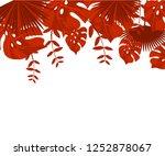 flower frame monstera ufo green ... | Shutterstock .eps vector #1252878067