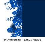 flower frame monstera ufo green ... | Shutterstock .eps vector #1252878091