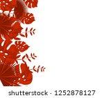 flower frame monstera ufo green ... | Shutterstock .eps vector #1252878127