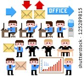 set of pixel icon. office theme ... | Shutterstock .eps vector #125289815