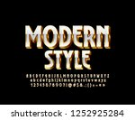 vector golden and white 3d font.... | Shutterstock .eps vector #1252925284
