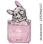 little pug in pocket. vector...   Shutterstock .eps vector #1252966117