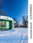 Winter Tallinn view on summer cafe with estonian flag - stock photo