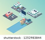 public city transport isometric ... | Shutterstock .eps vector #1252983844