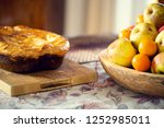 table covered with a tablecloth ... | Shutterstock . vector #1252985011
