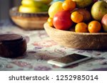 table covered with a tablecloth ... | Shutterstock . vector #1252985014