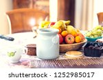 table covered with a tablecloth ... | Shutterstock . vector #1252985017