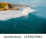 aerial view of crashing wave in ... | Shutterstock . vector #1253023981