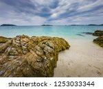 tropical beach  stone and beach ... | Shutterstock . vector #1253033344