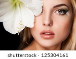 portrait of young woman with... | Shutterstock . vector #125304161